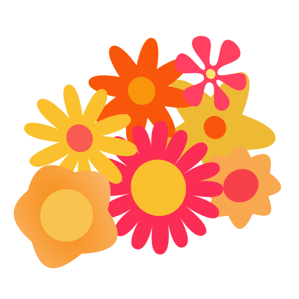 Vector illustration of different flowers cluster
