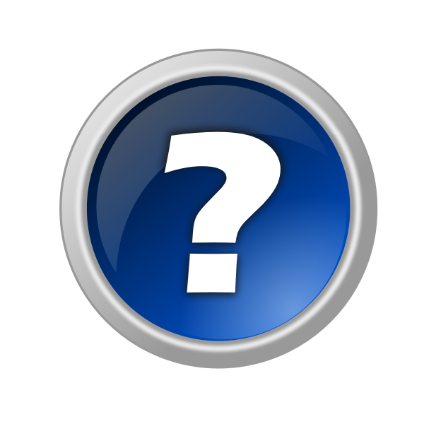 Vector drawing of round reflective question button