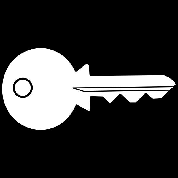 Vector clip art of outline of simple metal door key