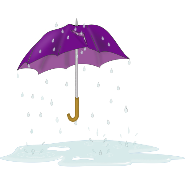 Vector drawing of tattered and torn umbrella