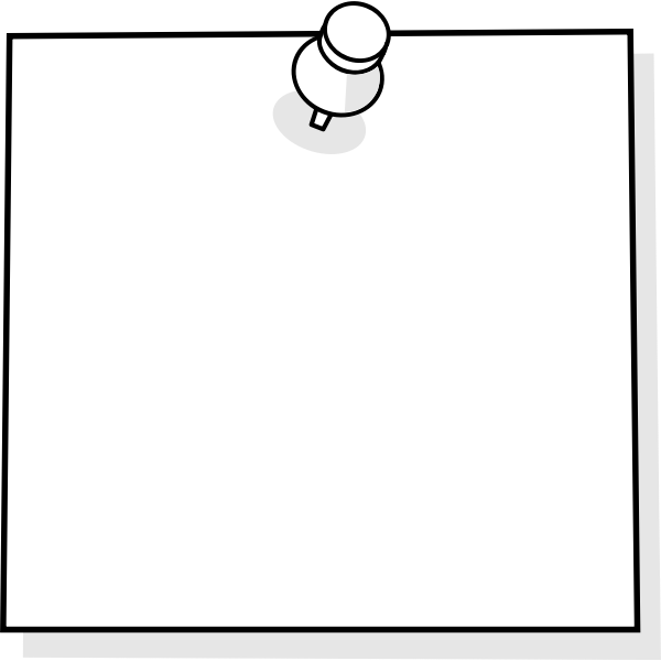 Blank note with thumbtack vector clip art