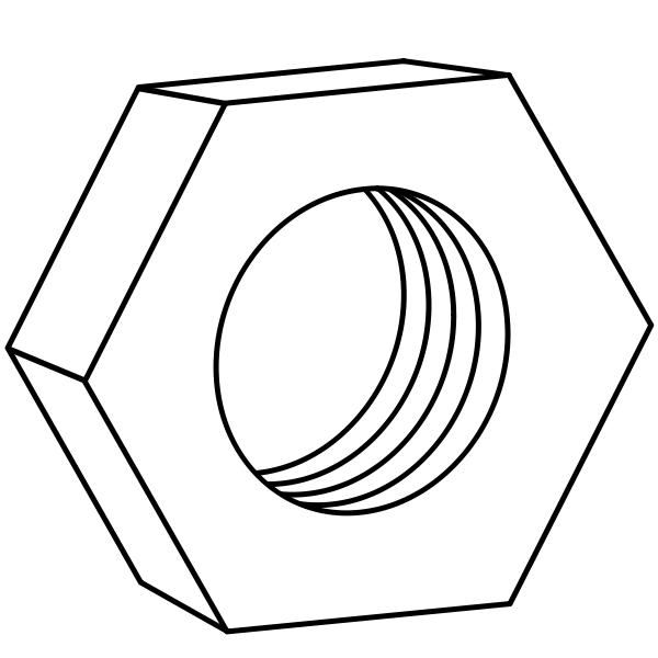 Hexagonal nut for bolts technical vector drawing