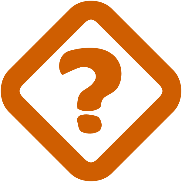 Vector image of orange question mark sign in a rotated square