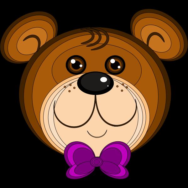 Vector illustration of teddy bear with purple bow