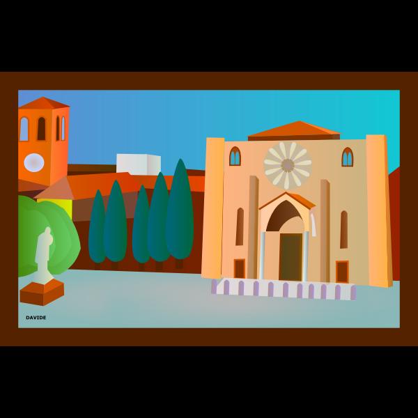 Piazza San Francesco vector postcard