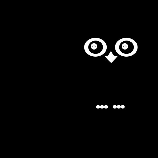 Vector illustration of black owl