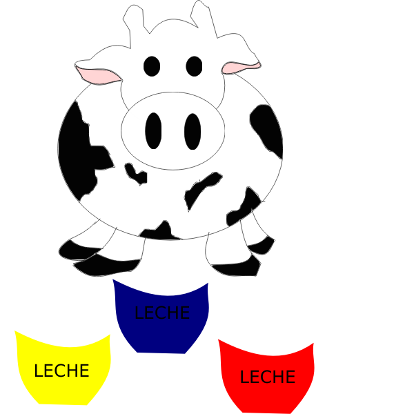 Vector image of cow with milk bottles