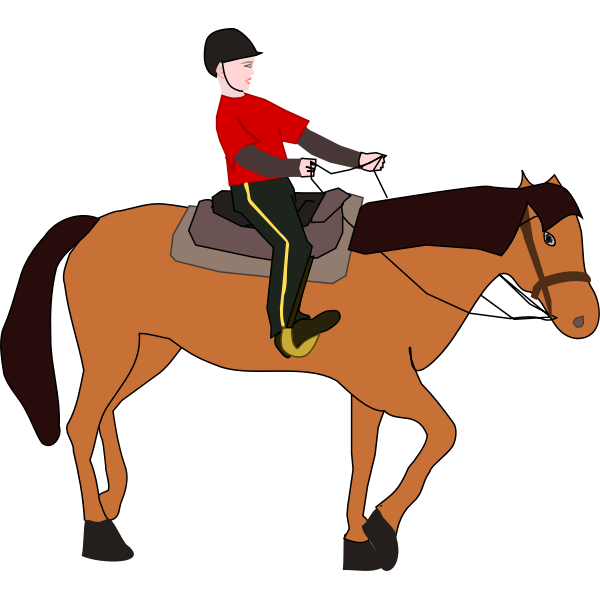 Vector image of woman on horse