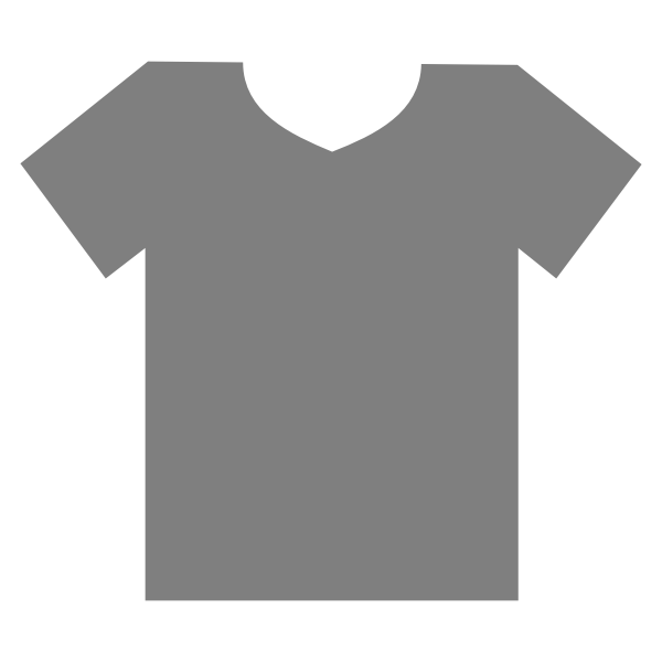 Blank grey t-shirt outline vector clip art