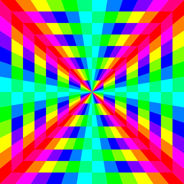 12 color rainbow square tunnel