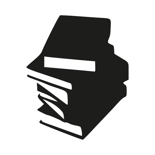 Monochrome icon of stacked books