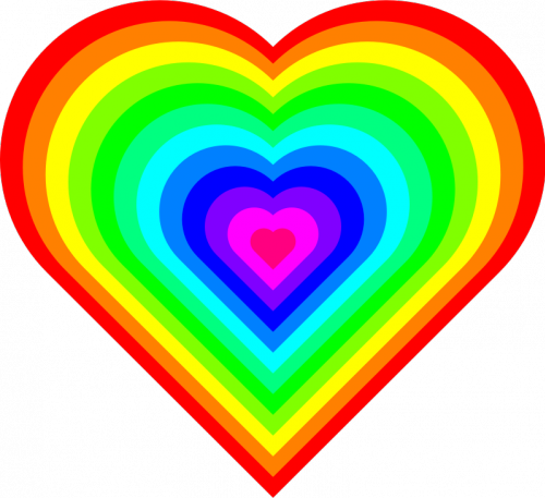 geometric 12 color heart