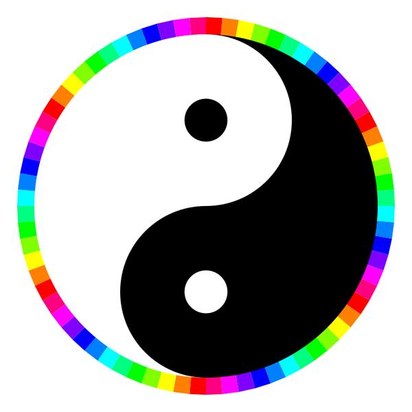 rainbow around yinyang