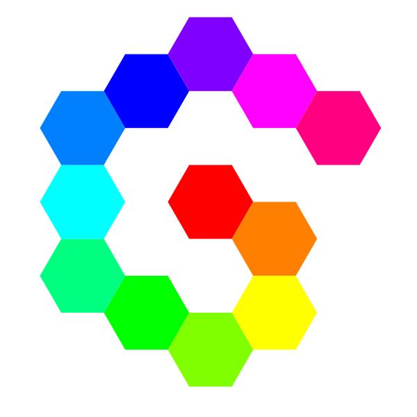 12 Hexagon Spiral Rainbow