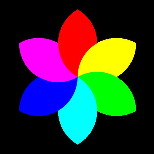 Colorful 6 petal flower vector graphics