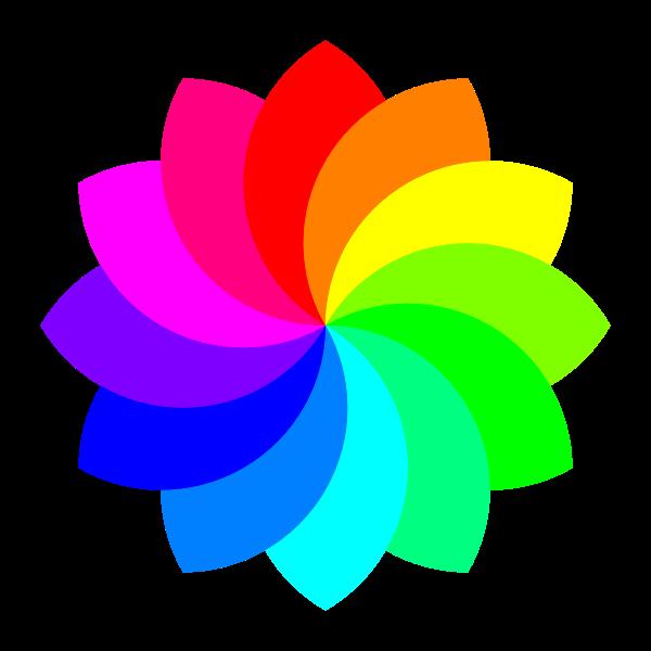 Colorful 12 petal flower vector illustration