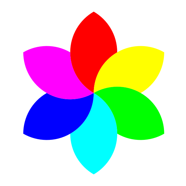 Flower-like colorful shape vector drawing