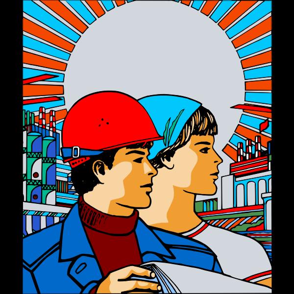 Soviet poster vector image