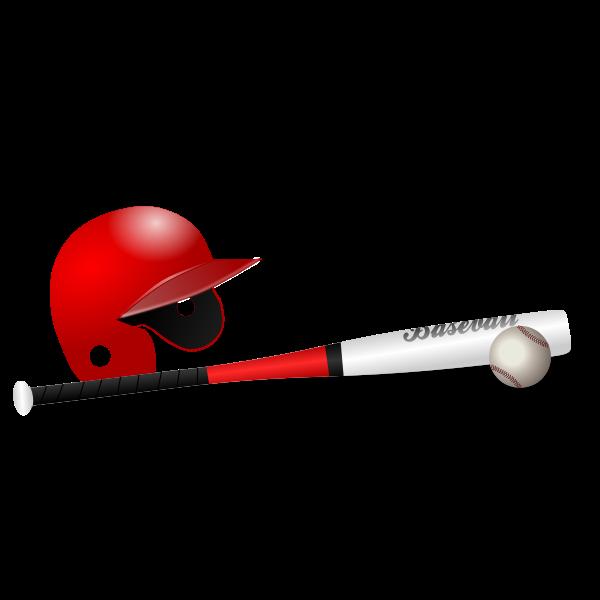 Baseball bat, ball and cap vector clip art