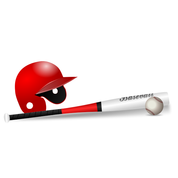 Baseball bat, ball and cap vector clip art