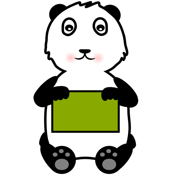 Panda holding a sign vector clip art