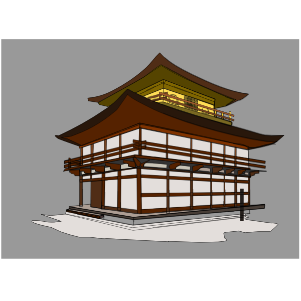 Vector clip art of kinkakuji house