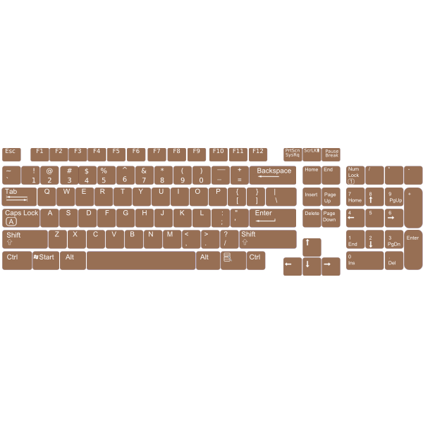 US English keyboard layout vector clip art