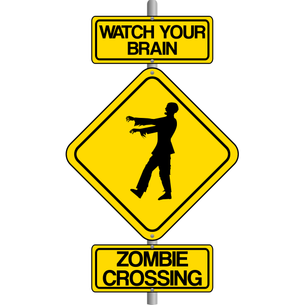 Vector graphics of zombie crossing traffic warning sign