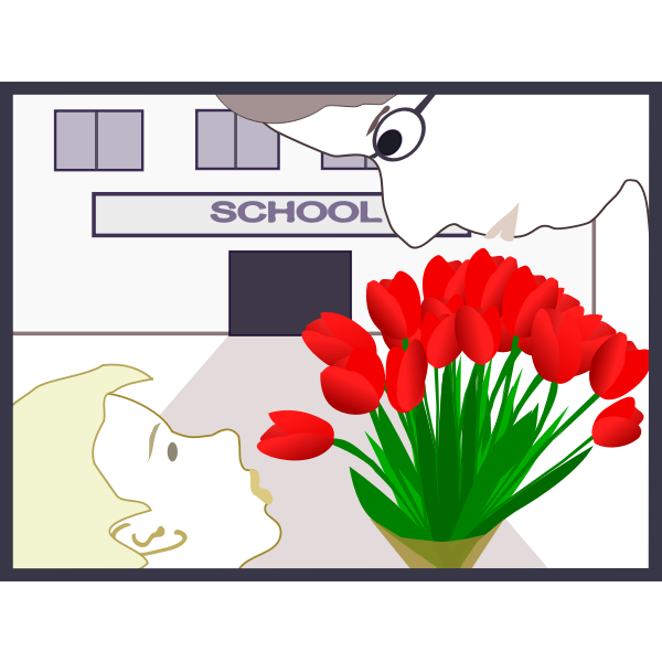 Student gives flowers to teacher vector illustration