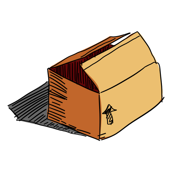 Carton box freehand vector drawing