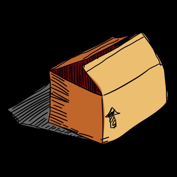 Carton box freehand vector drawing