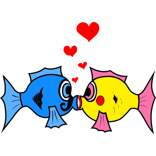 Vector graphics of two fish kissing