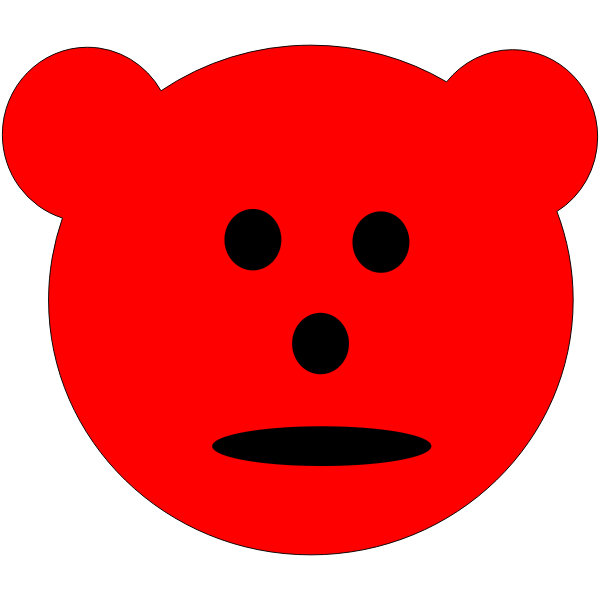 Red Bear emoticon vector drawing