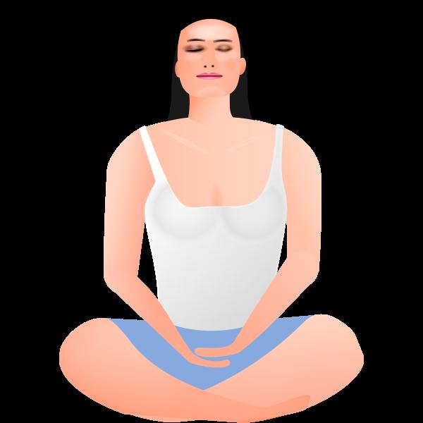 Vector clip art of lady in meditation