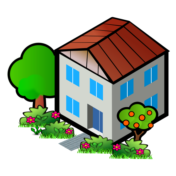 Vector drawing of house next to an apple tree