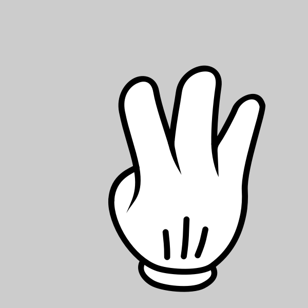 Graphics of white hand with three fingers up on a grey background
