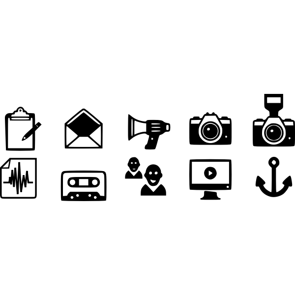 Vector illustration of black and white communication icon set