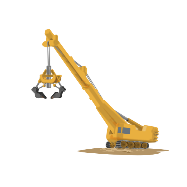Vector drawing of construction crane with high reach