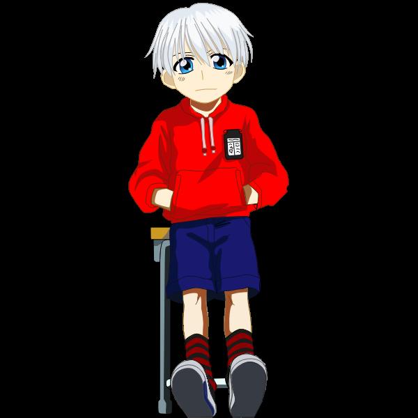 Manga school boy vector image
