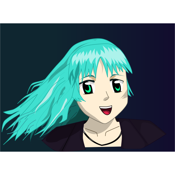 Vector clip art of anime girl with long blue hair