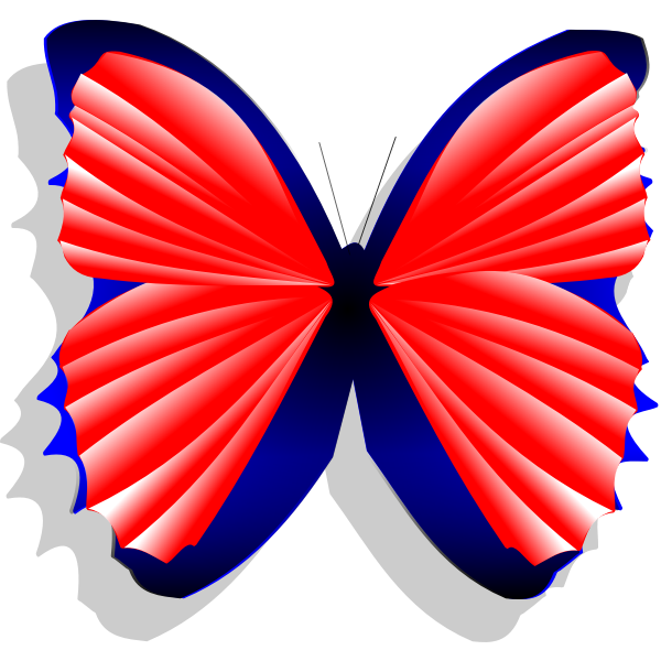 Blue and pink butterfly vector drawing