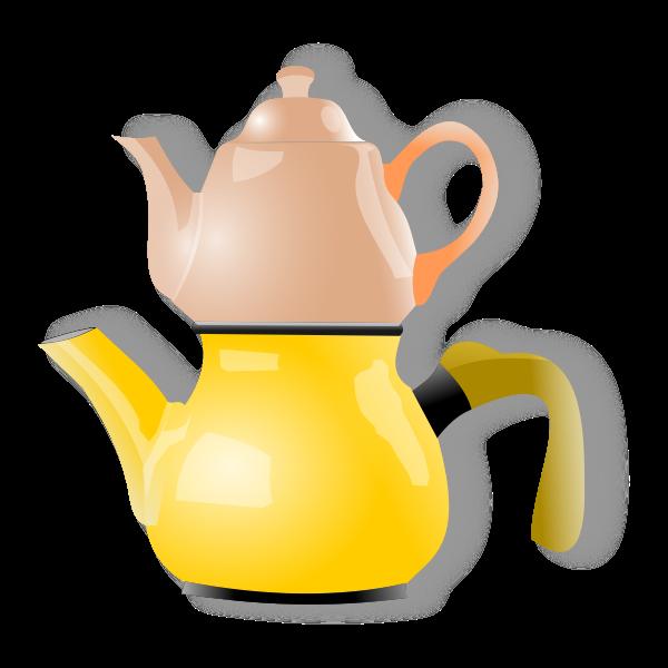 Vector illustration of shiny double tea pot