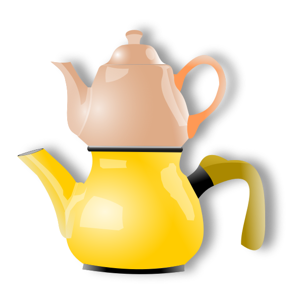 Vector illustration of shiny double tea pot