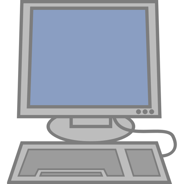 Computer with keyboard vector illustration