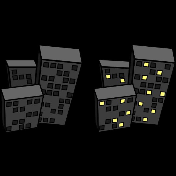 Vector drawing of tilted flat blocks at night