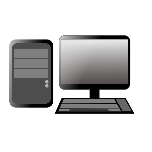Computer CPU and monitor vector image