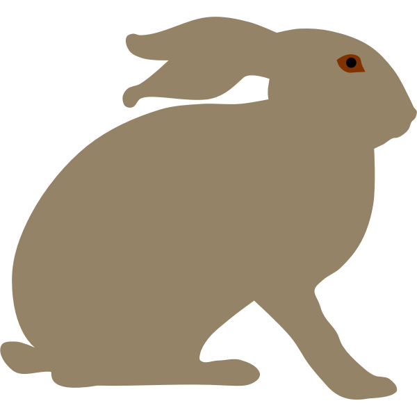 Rabbit with brown eyes silhouette vector image