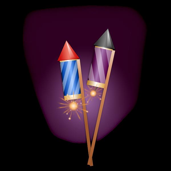 Vector clip art of firework rockets on a stick