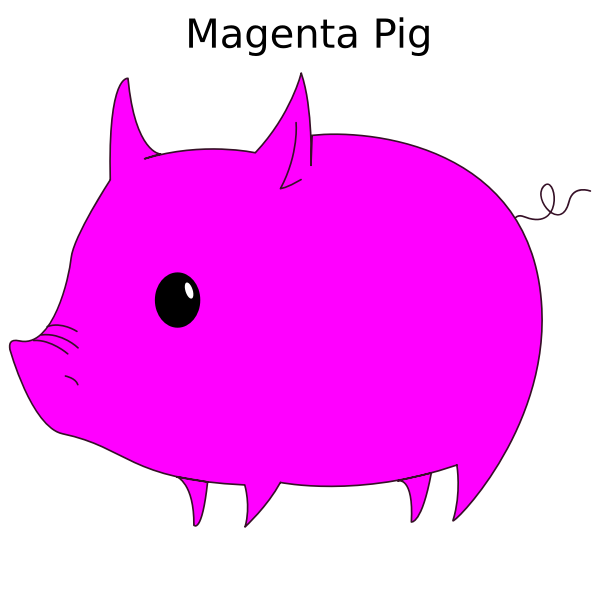 Magenta pig vector illustration