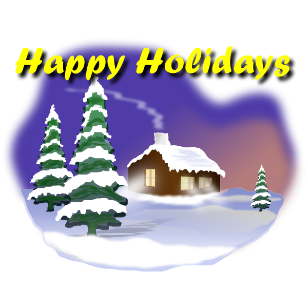 Happy Holidays winter idyll card vector graphics